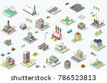 set of isometric city buildings.... | Shutterstock . vector #786523813