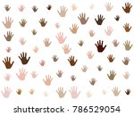 hands with skin color diversity ... | Shutterstock .eps vector #786529054
