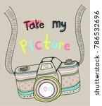 boho style camera illustration... | Shutterstock .eps vector #786532696