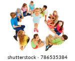 nice looking little girl stand... | Shutterstock . vector #786535384