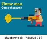 flame man. 2d game character....