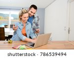 cheerful young couple... | Shutterstock . vector #786539494
