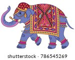 Stock vector blue indian elephant decorated in traditional style vector illustration isolated on white 786545269