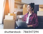 young asian woman working at... | Shutterstock . vector #786547294