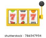 golden slot machine with lucky... | Shutterstock .eps vector #786547954