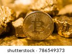 bitkoi coin. and gold nuggets.... | Shutterstock . vector #786549373