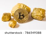 bitkoi coin. and gold nuggets.... | Shutterstock . vector #786549388