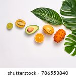 tropical palm leaves and fresh... | Shutterstock . vector #786553840