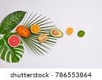 healthy food concept. tropical... | Shutterstock . vector #786553864