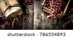 wine background. a barrel with... | Shutterstock . vector #786554893