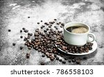 fresh coffee in a cup. on a... | Shutterstock . vector #786558103