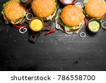 fast food. various burgers with ... | Shutterstock . vector #786558700