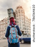 woman tourist in a coat with a...   Shutterstock . vector #786564610