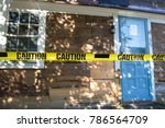 house fenced with a caution... | Shutterstock . vector #786564709
