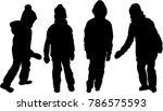 childrens black silhouettes. | Shutterstock .eps vector #786575593