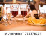 a table for two with red wine ... | Shutterstock . vector #786578134