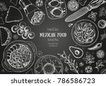 mexican food top view frame. a... | Shutterstock .eps vector #786586723
