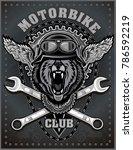 vintage motorcycle label | Shutterstock . vector #786592219