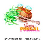 happy pongal greeting card to... | Shutterstock .eps vector #786595348