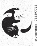yin and yang cat design with... | Shutterstock .eps vector #786597718