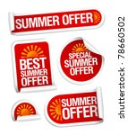 best summer offers stickers set | Shutterstock .eps vector #78660502
