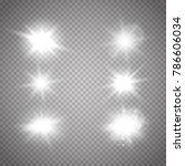 set og lights. glowing sparkles ... | Shutterstock .eps vector #786606034