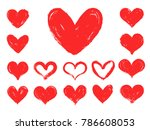 hand drawn grungy heart. red... | Shutterstock .eps vector #786608053