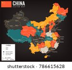 china map with provinces. all... | Shutterstock .eps vector #786615628