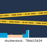 flat style crime scene with... | Shutterstock .eps vector #786615634