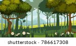 beautiful forest landscape ... | Shutterstock .eps vector #786617308