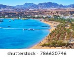 the comfortable sand beach line ... | Shutterstock . vector #786620746
