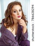 tenderness model touching chin  ... | Shutterstock . vector #786628294