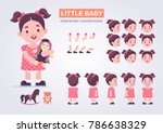 happy little kid girl character ... | Shutterstock .eps vector #786638329
