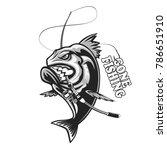 angry piranha fishing logo.... | Shutterstock . vector #786651910