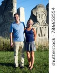 Small photo of Emporia, Kansas, USA, 17th August, 2014 Independent U.S. Senate candidate Greg Orman with his wife Sybil in front of the stone markers at the Clint Bowyers Community Center