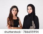 two young arab females on white ... | Shutterstock . vector #786655954
