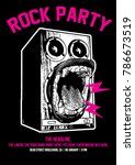 rock party poster flyer template | Shutterstock .eps vector #786673519