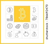 bitcoin concept. set of simple... | Shutterstock .eps vector #786692470