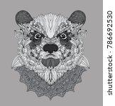 hand drawn doodle bear portrait ... | Shutterstock .eps vector #786692530