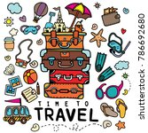 set of hand drawn travel doodle.... | Shutterstock .eps vector #786692680