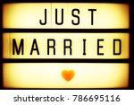 just married retro cinematic... | Shutterstock . vector #786695116