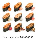set of spicy japanese sushi... | Shutterstock . vector #786698338