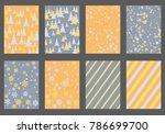 halftone lines  fir tree... | Shutterstock .eps vector #786699700