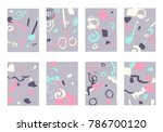 set of 8 abstract backgrounds... | Shutterstock .eps vector #786700120