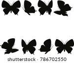 Black Butterfly Shape Set On...