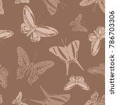 cute seamless butterfly... | Shutterstock .eps vector #786703306