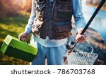 fishing. fisherman with fishing ... | Shutterstock . vector #786703768