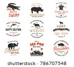 wild animal badges set and... | Shutterstock .eps vector #786707548