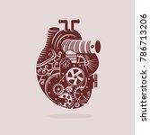 mechanical heart illustration... | Shutterstock .eps vector #786713206