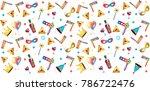 purim jewish holiday seamless...   Shutterstock .eps vector #786722476